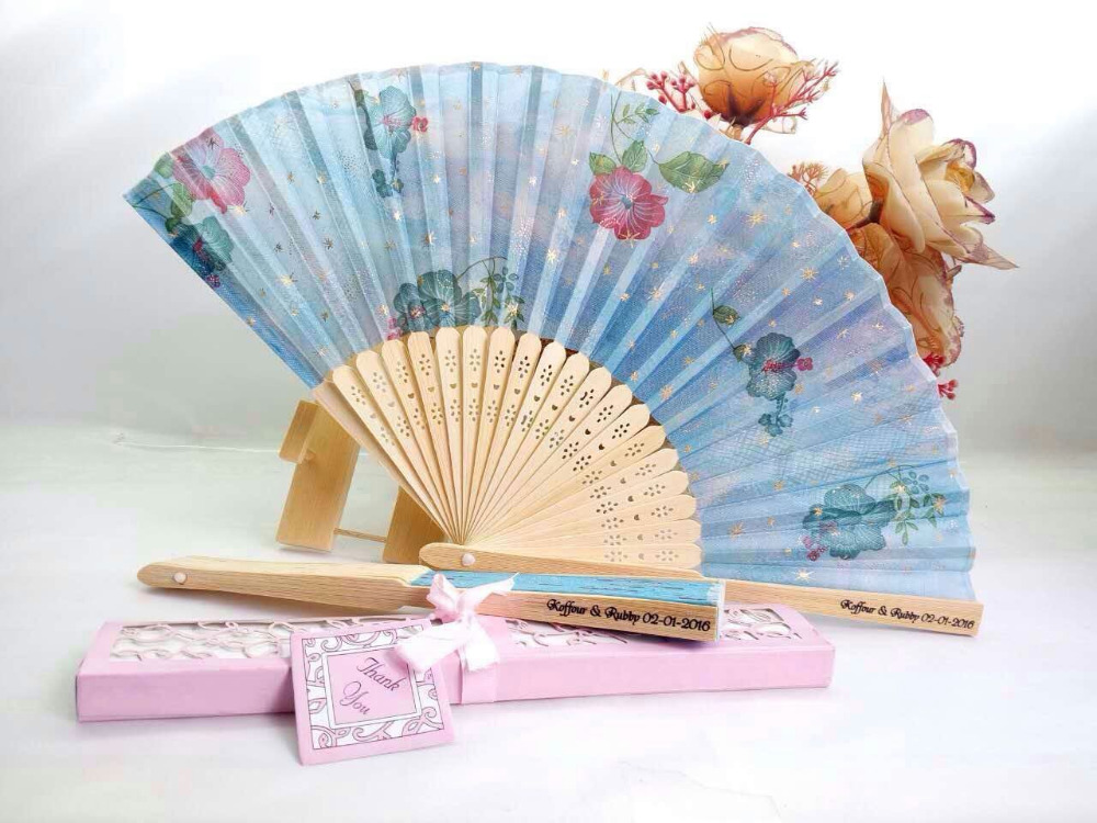 50Pcs Free Shipping Chinese Luxurious Printing Wedding Fan With Box Personalized Wedding Return