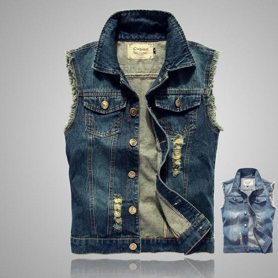 Popular Summer Men Jeans Jacket Sleeveless-Buy Cheap Summer Men ...