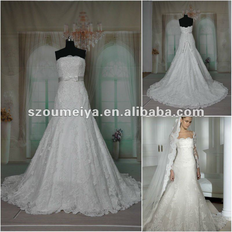 OUMEIYA ORW253 Big Dot Tulle Lace Applications Real Sample Wedding Dress(China (Mainland))