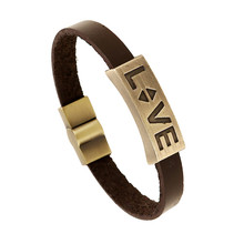 Vintage Retro Pulseira Homens Masculina Couro Male Cool Leather LOVE Graved Bracelet Biker Mens Steampunk Leather Jewellery