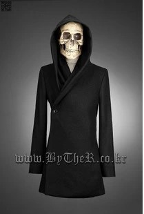 2016 new winter coat outwear fashion british style punk gothic men's clothing Slim Hooded men's yuppie woollen clothes coat(China (Mainland))