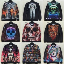 [Magic] Big Skull 3d hoodie men new style long sleeve o neck 3D sweatshirt good printing men's sweatshirts 76models free ship(China (Mainland))
