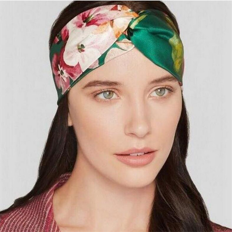 Retro Women Elastic Turban Twisted Knotted Headband Silk flower hair band accessories holiday party Hair Accessories(China (Mainland))