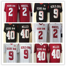 2016 Men's #2 Johnny Manziel #9 Ricky Seals-Jones #40 Von Miller Throwback 100% Stitched Red black White Jerseys(China (Mainland))