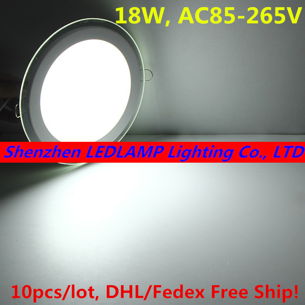 10pcs/lot glass led panel light 3D Effect LED Ceiling Light Recessed Spot Down Light 18W High Lumens Indoor Light DHL Free Ship(China (Mainland))