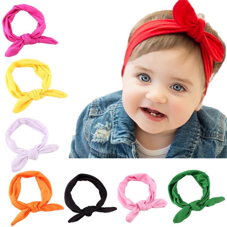Girls Kids Baby Stretch Rabbit Bow Ear Hairband Headband Turban Knot Head Wrap Headwear(China (Mainland))