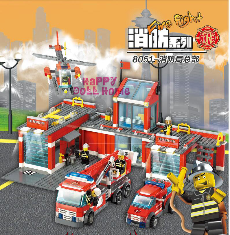 The Newest  City Fire Station Truck Helicopter Firefighter Minifigure Building Blocks Bricks Toys Lego Compatible 774Pcs /Set