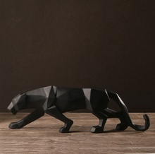 Modern Abstract Black Panther Sculpture Geometric Resin Leopard Statue Wildlife Decor Gift Craft Ornament Accessories Furnishing(China (Mainland))
