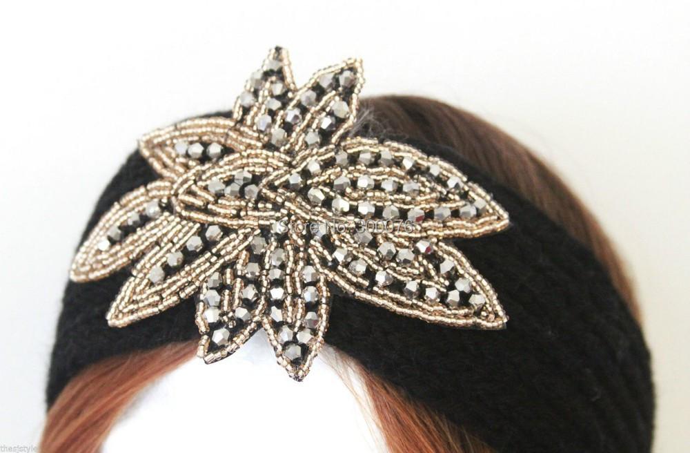 Beaded Flower Jewel Knit Headband Hairband Winter HeadWrap Black Ivory(China (Mainland))