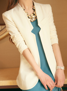 Elegant medium-long long-sleeve slim blazer black and white women's suit outerwear
