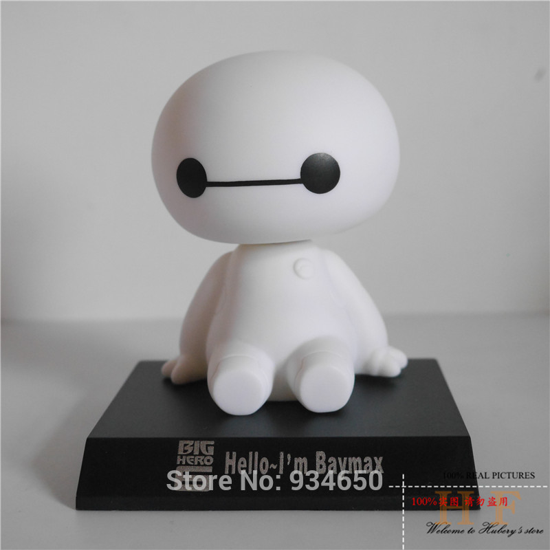 New Arrival Big Hero 6 Baymax Action Figure Toy Model Dolls 12cm Lovely Cute Automobile Head Shaking Doll Children Gift(China (Mainland))