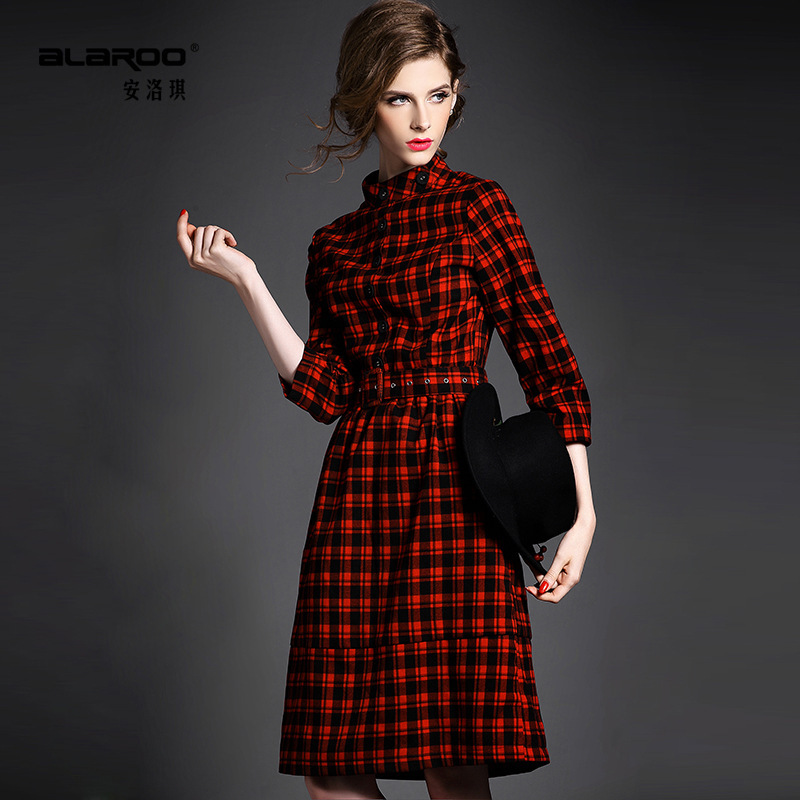 2015 spring summer stand collar Women Dresses single breasted long dress Houndstooth Vestidos medium-long one-piece 15 - Xuzhou jingjing international trading company store