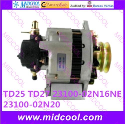 HIGH QUALITY CAR ALTERNATOR FOR NISSAN TD25 TD27 23100-02N16NE 23100-02N20(China (Mainland))