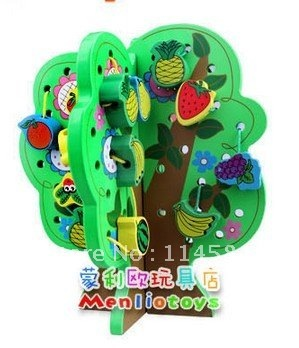 BABY Wooden TOYS Green Christmas Tree Fruits flowers Modle KIDS Learning blocks child educational toy play house game toys