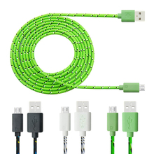 Buy 1m 2m 3m Hot Sell Nylon Braided Fabric Micro USB Cable Charger Data Sync Cord Samsung Galaxy Android Smart Phone for $1.45 in AliExpress store