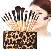 New Beauty Makeup Brushes For Woman Leopard 12pcs Wooden Pro Makeup Brush for Eyeshadow Eyebrow Cosmetic Tool Brushes maquillaje