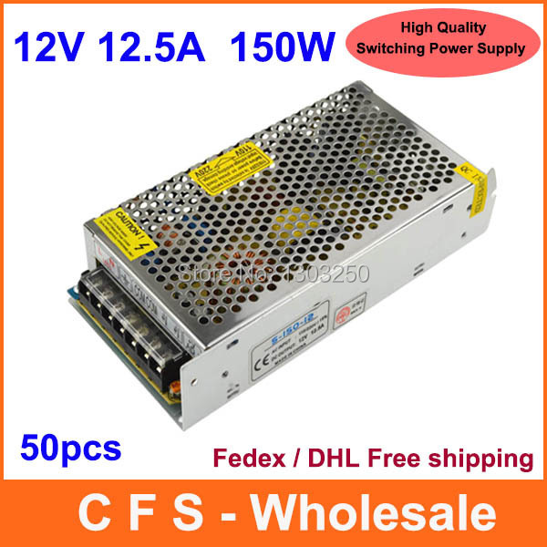 High Quality AC DC 12V 12.5A 150W Universal Regulated Switching Power Supply 12V 150W LED Driver Free shipping 50pcs Wholesale(China (Mainland))
