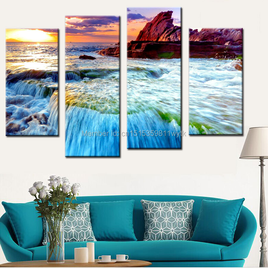 4 panel modern rock beach seaview canvas prints painting picture cuadros wall art home decor for - Canvas prints home decor photos ...