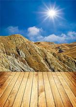 Mountain Background Kid Photo Studio Wooden Floor Photography Backdrops Sunshine Vinyl 5x7ft or 3x5ft JieQX288
