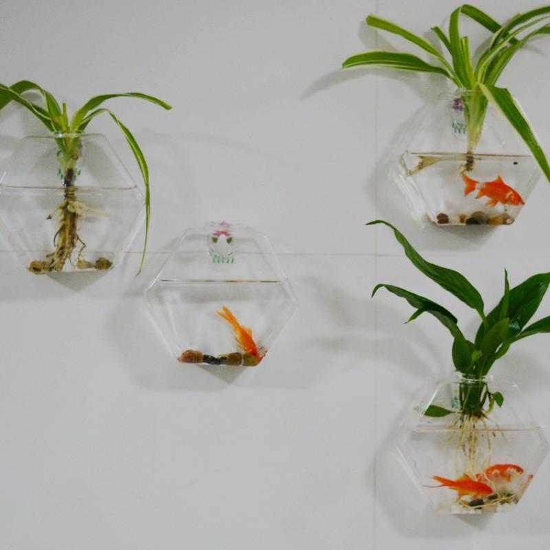 4pcs Set Hexagon Wall Hanging Glass Vase Wall Glass Fish