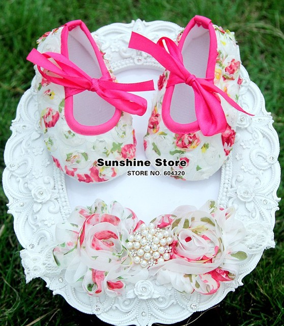 baby christening shoes baptism flower headband for ballet dimond;Girl Crib Set,sapato de bebe recem nascido #2B1907 3 set/lot