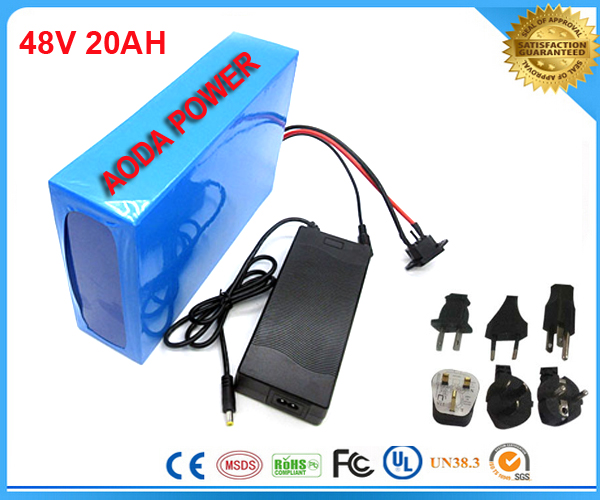 Free customs taxes electric bike battery 48V 1000W Lithium Battery 48V 20AH Electric Bicycle Battery with charger and BMS(China (Mainland))
