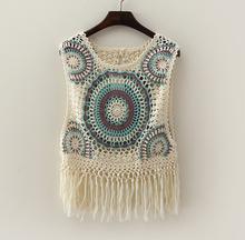 mori  girl  o-neck  Sleeveless Knitting wool  tassel  Vest  tank tops(China (Mainland))