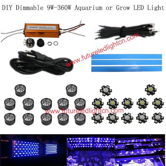1lot Dimmable 30w led aquarium DIY parts AC 110V 220V 15000k ,royal blue 440-460nm(China (Mainland))