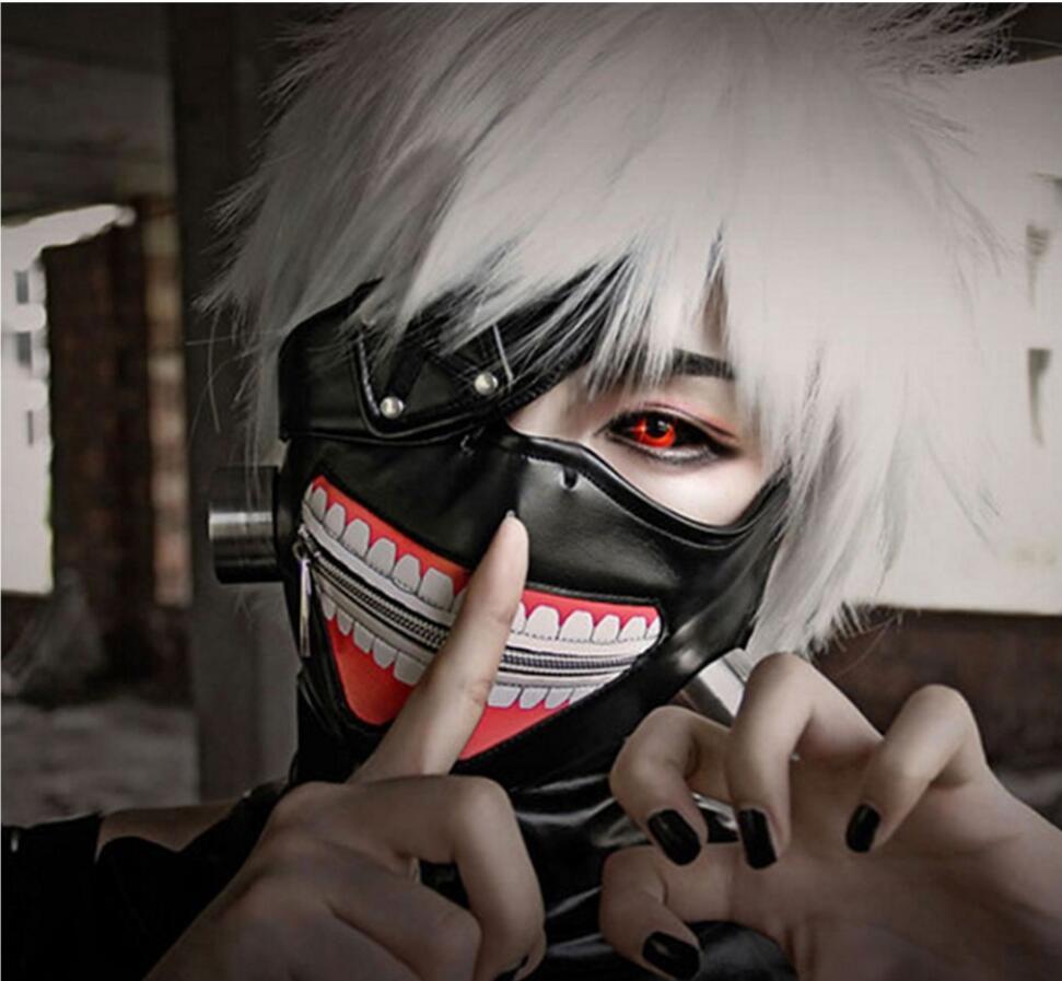 Tokyo Ghoul 2 Kaneki Ken Mask Adjustable Zipper Masks PU Leather Cool Blinder white black Anime Cosplay - ANHUI RUIQIQIAN TRADE CO,. LTD store