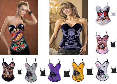 women sexy tattoo corset Goth Punk Rock Hook & Eye boned cotton bustiers party club wear tops S-XXL Halloween Gift(China (Mainland))
