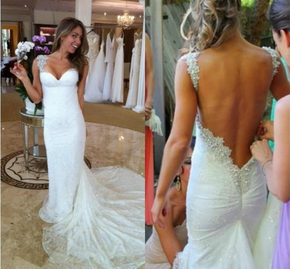 Sparkling White Sweetheart Tank Sleeveless Mermaid Floor Length Court Train Bridal Gown Beading Backless Lace Wedding Dress - Perfect angel wedding dress store