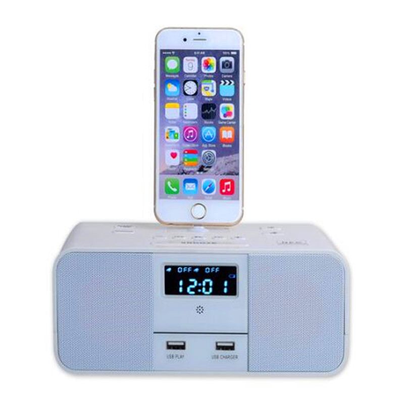 S6 LCD Digital FM Radio Dual Alarm Clock Music Dock Charger Station Bluetooth Stereo Speaker for iPhone 5<br><br>Aliexpress