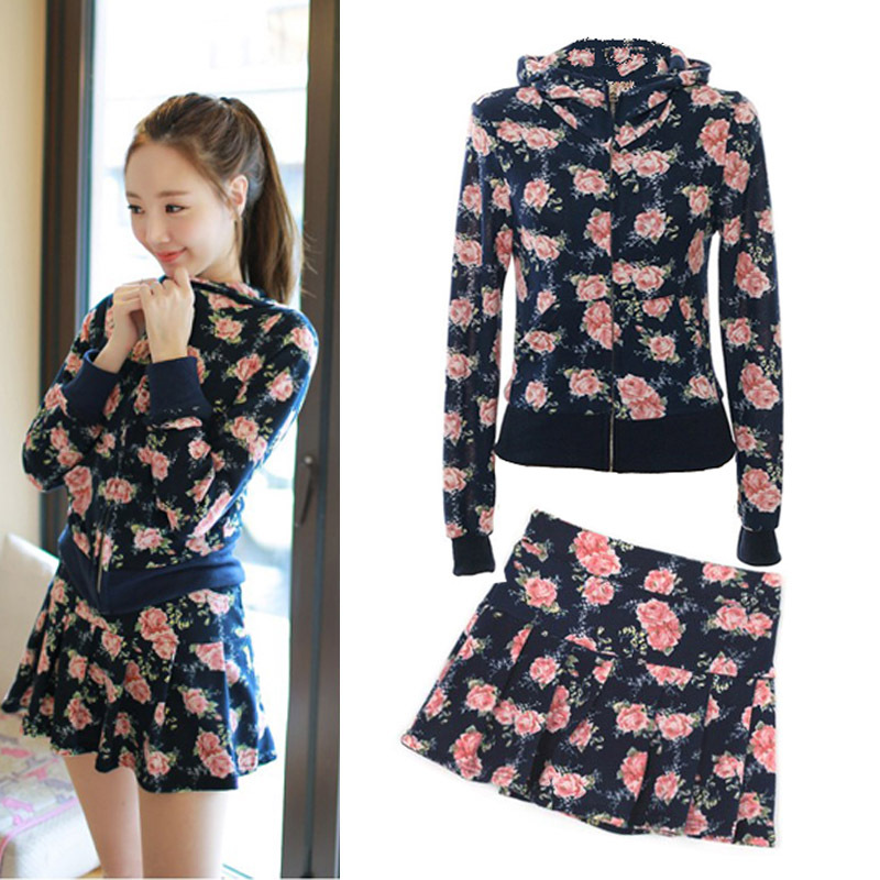 Women winter sport sets jacket + short skirt printing hooded zipper culottes Slim autumn spring casual suit sweet Specials(China (Mainland))