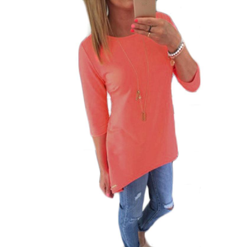 Modern Women Loose Pullover T Shirt Three Quarter Tops Shirt Blouse  Blue, Pink, Yellow, Green, Orange Mar08Одежда и ак�е��уары<br><br><br>Aliexpress