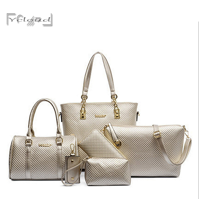 European and American fashion Solid big women leather handbag Quilted 6 sets composite bag messenger shoulder tote Free shipping<br><br>Aliexpress