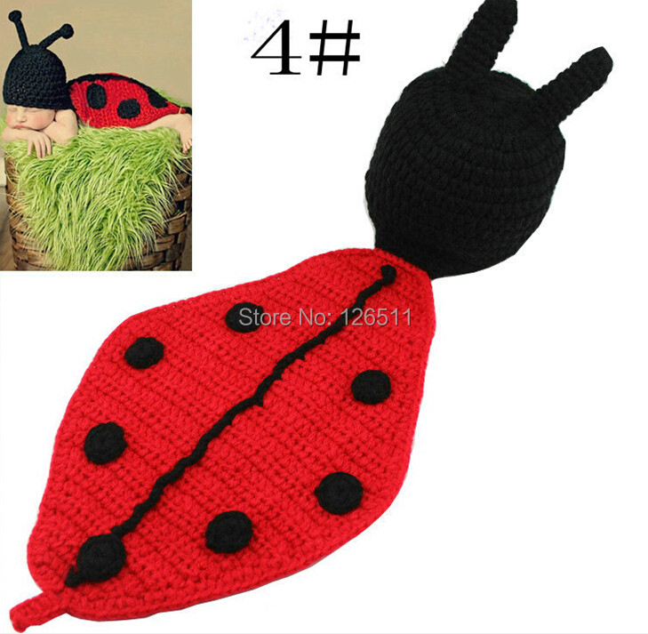 NEW Ladybug Toddler Boy Girl Baby Beanie Costume Animal Hats Caps Sets Taking Photo Photography Props Knit Crochet(China (Mainland))
