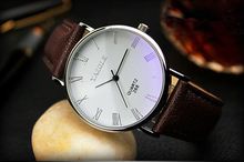 Splendid Luxury Brand Fashion Faux Leather Blue Ray Glass Men Watch 2015 Quartz Analog Business Wrist