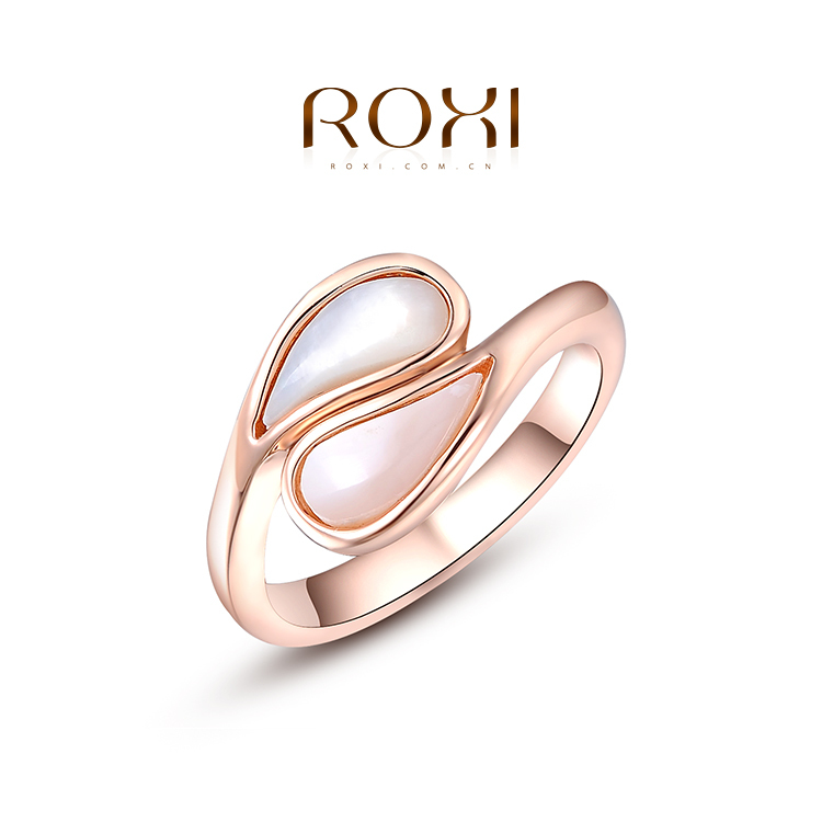 ROXI 2015 new style Pink ellipse opal ring 18 k gold plated High-grade fashion delicate and charming woman rings wholesale(China (Mainland))