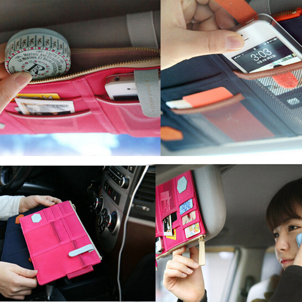 Top Quality colorful Car Sun Visor Storage Point Pocket Documents Organizer Bag Pouch Card Holder Credit