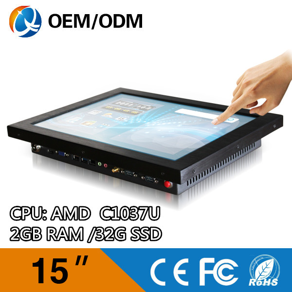 "free shipping 15"" desktop computers all in one pc AIO PC with wifi / 32G SSD / 2GB RAM (QY-15C-CCAA)(China (Mainland))"