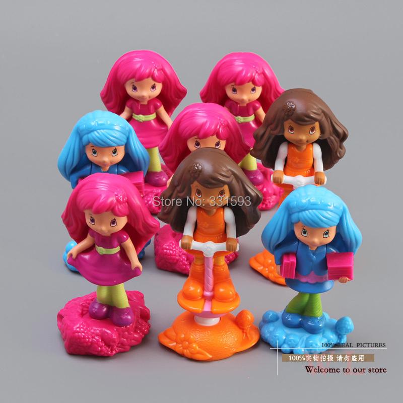 Free Shipping McDonald's Toys Strawberry Shortcake PVC Action Figures Toys Dolls 8pcs/set Christmas Gifts Child Toys OTFG115(China (Mainland))