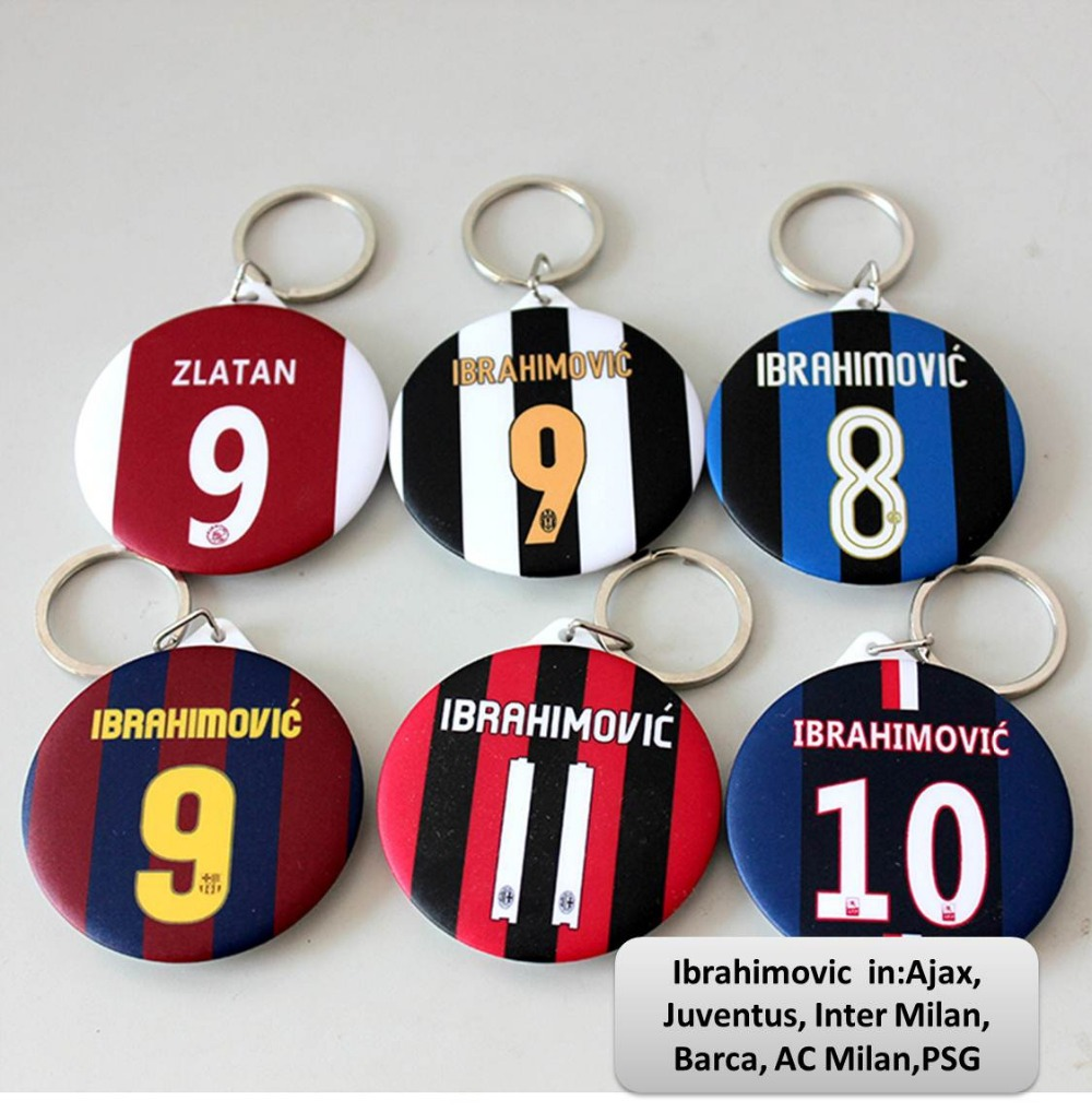 T121_Ibrahimovic Ajax AC Milan PSG All Six Teams Memorial Key Chain,58mm,Free Shipping,Fans articles souvenirs(China (Mainland))