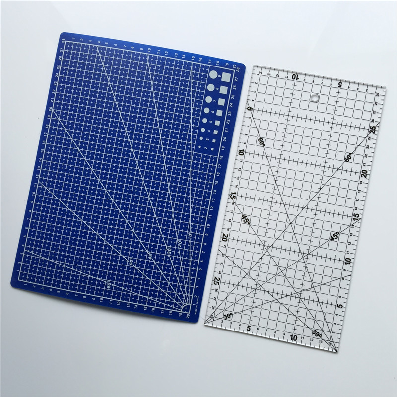 Free Shipping 2pcs Acrylic And Plastic Materials 15 * 30cm Patchwork Ruler And A Blue A4 Cutting Plate<br><br>Aliexpress