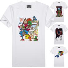 [EATGE] Brand Tshirt Geek Video Game Nostalgic Print T-shirt Funny Pattern T Shirt Fashion White O-neck Men Women Cool Style Tee(China (Mainland))