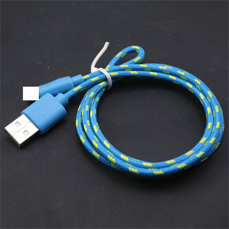 6FT/2M Long Strong Fabric Braided USB Charger Data Sync Cable Cord For Apple iPhone 5 5S 5C 6 6 Plus iPad 4 Air 2 Mini 1/2/3(China (Mainland))
