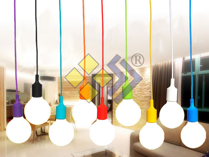 Colorful! edison bulb+knitted electrical wire+E27 silica gel lamp holder+ceiling base Eco-friendly pendant light 110v 220v 2pcs(China (Mainland))