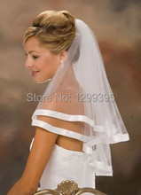 Hot Sale White Ivory 2015 Lastest 2 Layer Ribbon Edge Wedding Bridal Veil With Combs Accessories In Stock(China (Mainland))