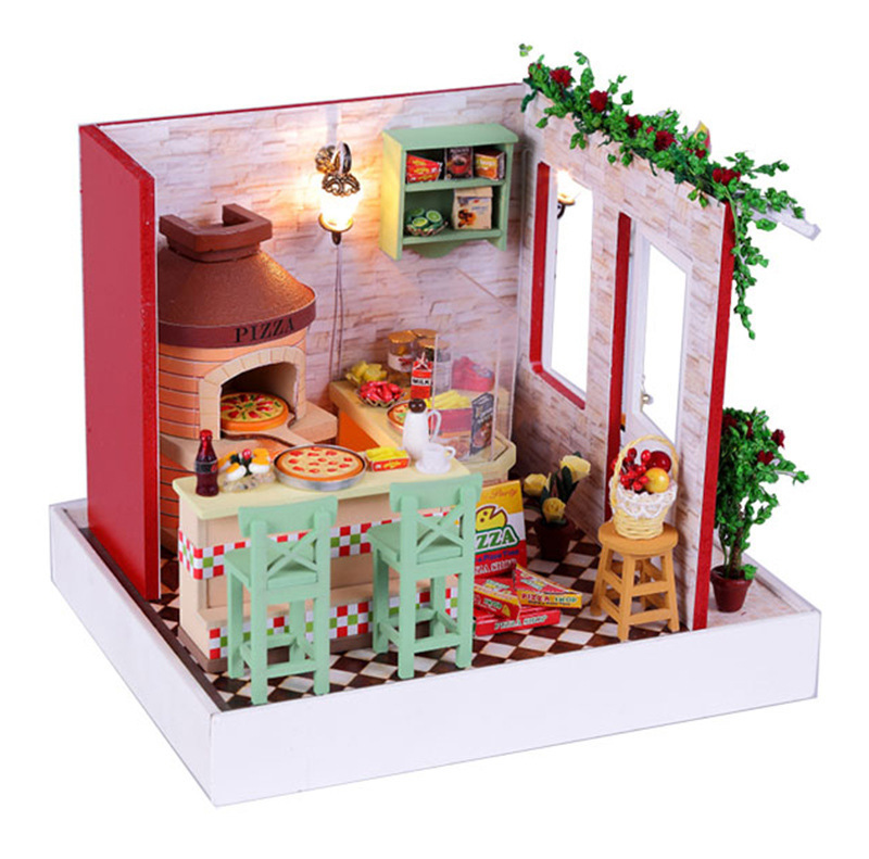 Wooden Miniature Doll House Furniture Diy Dolls Toy Miniatura Puzzle Model Dollhouse Creative toys for girls Birthday Gift(China (Mainland))