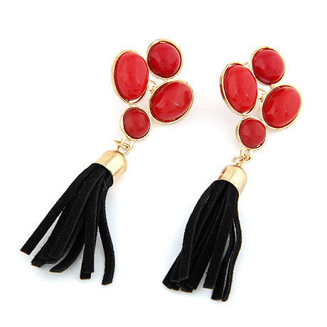 Новый богемия винтаж большой клевер красный имитация драгоценных камней мотаться кисточкой подвески brincos для женщин мужчины ювелирные изделия бижутерии