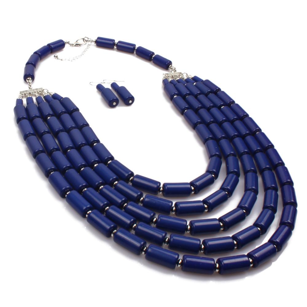 Ожерелье из бисера акриловые новая мода многослойная макси длинная прядь ожерелье женщины себе ожерелье винтаж этнические украшения 6390